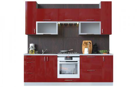 Кухня пряма Мода ВІП мастер • Скло + МДФ • 240 см • Фасад Чері + Корпус Сірий металік