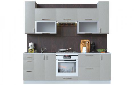 Кухня пряма Мода ВІП мастер • Скло + МДФ • 240 см • Фасад Срібло + Корпус Сірий металік