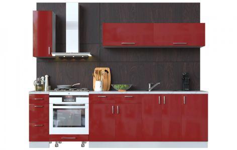 Кухня пряма Мода ВІП мастер • МДФ • 270 см • Фасад Чері + Корпус Сірий металік