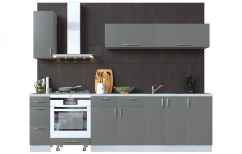 Кухня пряма Мода ВІП мастер • МДФ • 270 см • Фасад Грей + Корпус Сірий металік