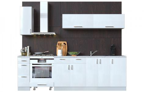 Кухня пряма Мода ВІП мастер • МДФ • 270 см • Фасад Лайт + Корпус Сірий металік