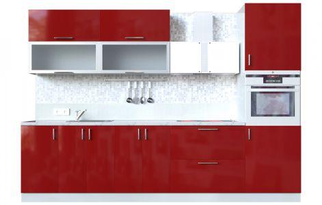 Кухня пряма Мода ВІП мастер • Скло + МДФ • 300 см • Фасад Чері + Корпус Сірий металік