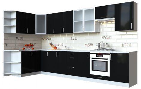 Кухня кутова Мода ВІП мастер • Скло + МДФ • 360х150 см • Фасад Чорний лак + Корпус Сірий металік
