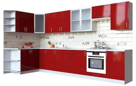 Кухня кутова Мода ВІП мастер • Скло + МДФ • 360х150 см • Фасад Чері + Корпус Сірий металік