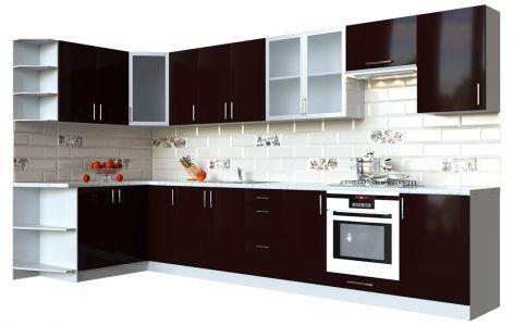 Кухня кутова Мода ВІП мастер • Скло + МДФ • 360х150 см • Фасад Мокко + Корпус Сірий металік