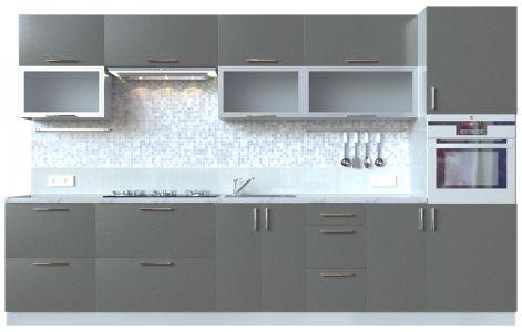 Кухня пряма Мода ВІП мастер • Скло + МДФ • 340 см • Фасад Грей + Корпус Сірий металік
