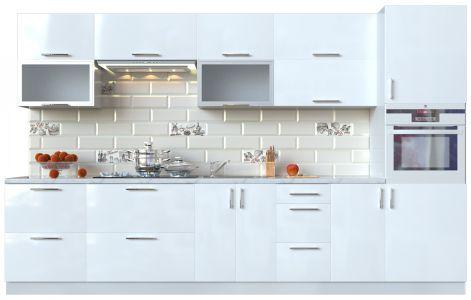Кухня пряма Мода ВІП мастер • Скло + МДФ • 340 см • Фасад Лайт + Корпус Сірий металік