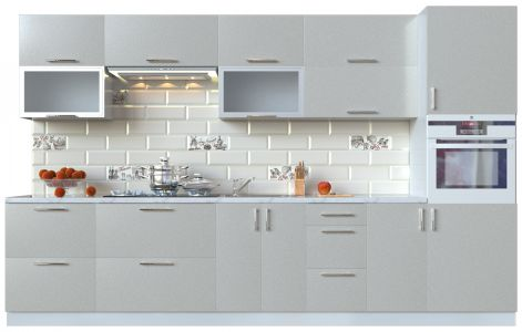Кухня пряма Мода ВІП мастер • Скло + МДФ • 340 см • Фасад Срібло + Корпус Сірий металік