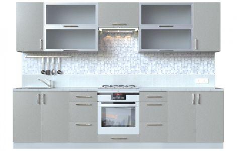 Кухня пряма Мода ВІП мастер • Скло + МДФ • 300 см • Фасад Срібло + Корпус Сірий металік