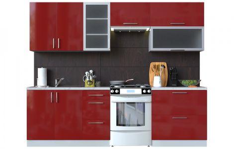 Кухня пряма Мода ВІП мастер • Скло + МДФ • 260 см • Фасад Чері + Корпус Сірий металік