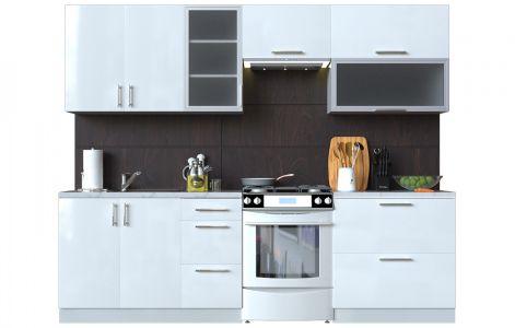Кухня пряма Мода ВІП мастер • Скло + МДФ • 260 см • Фасад Лайт + Корпус Сірий металік