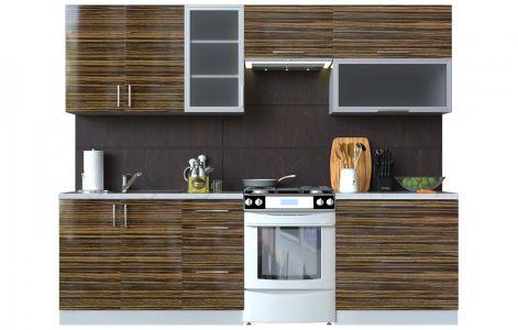 Кухня пряма Мода ВІП мастер • Скло + МДФ • 260 см • Фасад Зебрано + Корпус Сірий металік