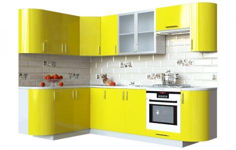 Кухня кутова Мода ВІП мастер • Скло + МДФ • 260х150 см • Фасад Лимон + Корпус Сірий металік