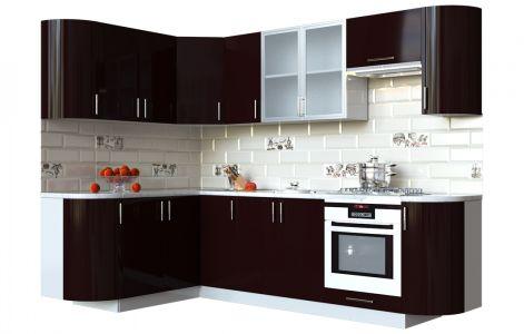 Кухня кутова Мода ВІП мастер • Скло + МДФ • 260х150 см • Фасад Мокко + Корпус Сірий металік