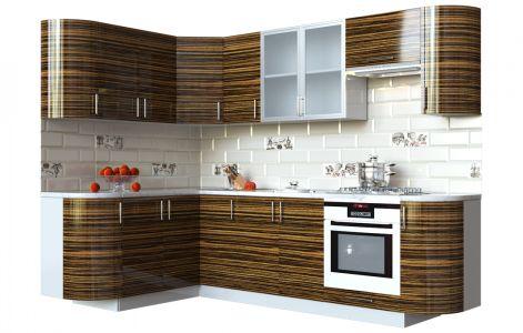 Кухня кутова Мода ВІП мастер • Скло + МДФ • 260х150 см • Фасад Зебрано + Корпус Сірий металік