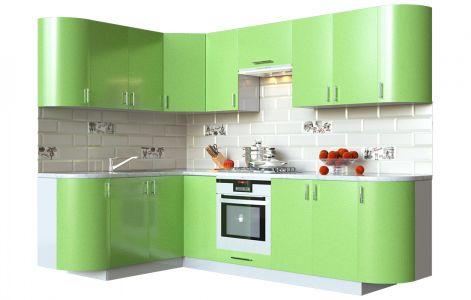 Кухня кутова Мода ВІП мастер • МДФ • 260х150 см • Фасад Фісташка + Корпус Сірий металік