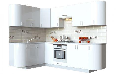 Кухня кутова Мода ВІП мастер • МДФ • 260х150 см • Фасад Лайт + Корпус Сірий металік