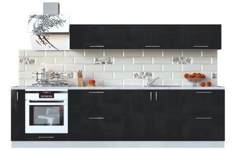 Кухня пряма Мода ВІП мастер • МДФ • 300 см • Фасад Чорний лак + Корпус Сірий металік