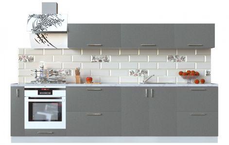 Кухня пряма Мода ВІП мастер • МДФ • 300 см • Фасад Грей + Корпус Сірий металік