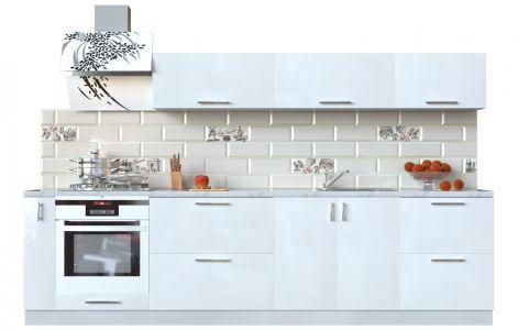 Кухня пряма Мода ВІП мастер • МДФ • 300 см • Фасад Лайт + Корпус Сірий металік