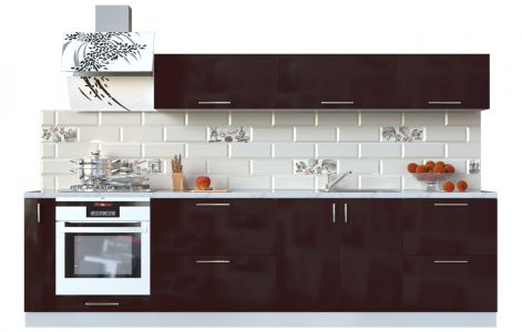 Кухня пряма Мода ВІП мастер • МДФ • 300 см • Фасад Мокко + Корпус Сірий металік
