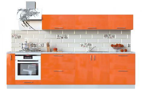 Кухня пряма Мода ВІП мастер • МДФ • 300 см • Фасад Оранж + Корпус Сірий металік