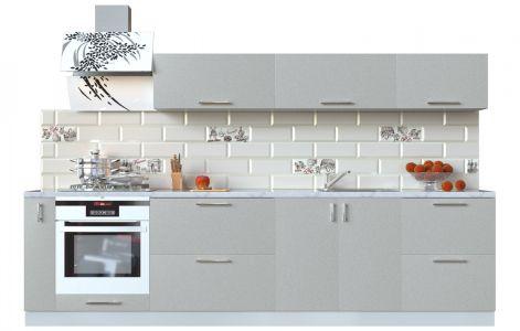 Кухня пряма Мода ВІП мастер • МДФ • 300 см • Фасад Срібло + Корпус Сірий металік