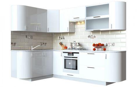 Кухня кутова Мода ВІП мастер • Скло + МДФ • 260х150 см • Фасад Лайт + Корпус Сірий металік