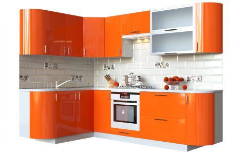 Кухня кутова Мода ВІП мастер • Скло + МДФ • 260х150 см • Фасад Оранж + Корпус Сірий металік