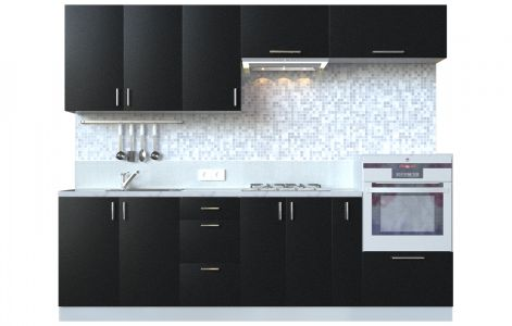 Кухня пряма Мода ВІП мастер • МДФ • 260 см • Фасад Антрацит + Корпус Сірий металік