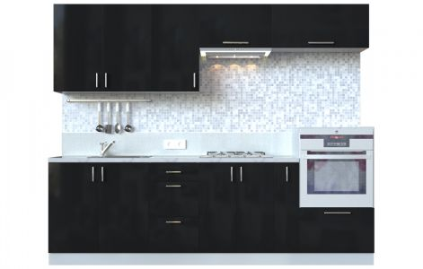 Кухня пряма Мода ВІП мастер • МДФ • 260 см • Фасад Чорний лак + Корпус Сірий металік