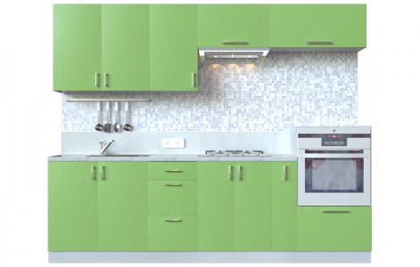 Кухня пряма Мода ВІП мастер • МДФ • 260 см • Фасад Фісташка + Корпус Сірий металік