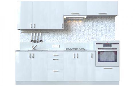 Кухня пряма Мода ВІП мастер • МДФ • 260 см • Фасад Лайт + Корпус Сірий металік