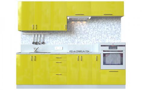 Кухня пряма Мода ВІП мастер • МДФ • 260 см • Фасад Лимон + Корпус Сірий металік