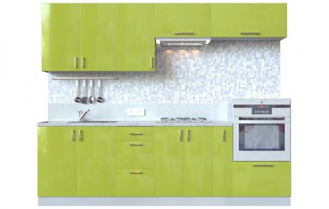 Кухня пряма Мода ВІП мастер • МДФ • 260 см • Фасад Олива + Корпус Сірий металік