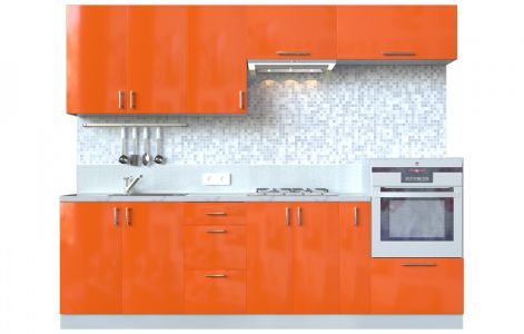 Кухня пряма Мода ВІП мастер • МДФ • 260 см • Фасад Оранж + Корпус Сірий металік
