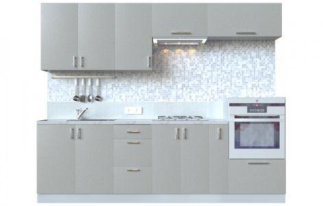 Кухня пряма Мода ВІП мастер • МДФ • 260 см • Фасад Срібло + Корпус Сірий металік