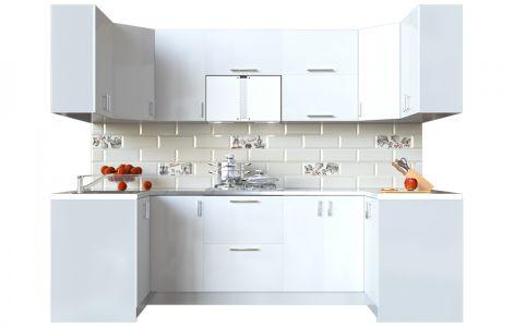 Кухня кутова Мода ВІП мастер • МДФ • 270х120 см • Фасад Лайт + Корпус Сірий металік