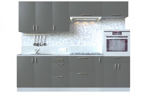 Кухня пряма Мода ВІП мастер • МДФ • 260 см • Фасад Грей + Корпус Сірий металік