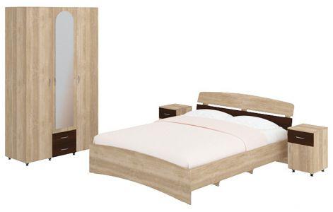 Спальня ECO Сollection Milana Style Sonoma + Gorih (Ліжко, 2 тумбочки, Шафа)