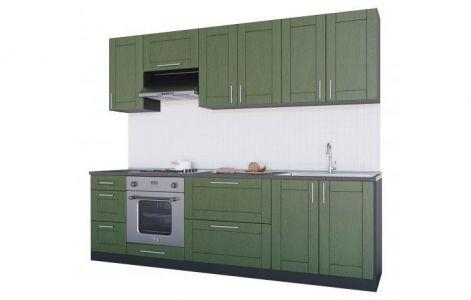 Кухня пряма Квадро МДФ, 260 см, Темно-зелений Д05