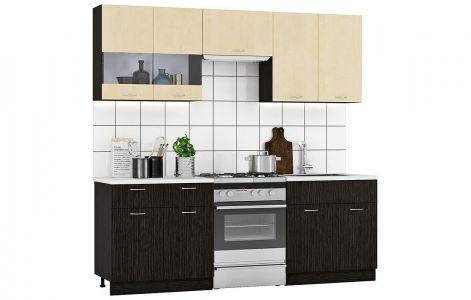 Кухня пряма Марта Світ меблів • Скло + ДСП • 220 см • Фасад Венге темний + Венге світлий + Корпус Венге темний