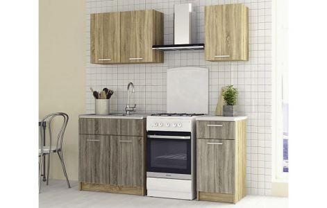 Кухня пряма Марта Світ меблів • ДСП • 120 см • Фасад Дуб сонома + Дуб трюфель + Корпус Дуб сонома