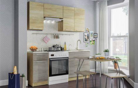 Кухня пряма Марта Світ меблів • ДСП • 180 см • Фасад Дуб сонома + Дуб трюфель + Корпус Дуб сонома