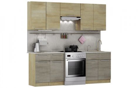 Кухня пряма Марта Світ меблів • ДСП • 220 см • Фасад Дуб сонома + Дуб трюфель + Корпус Дуб сонома