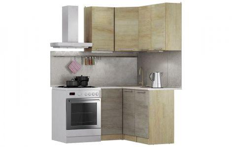 Кухня кутова Марта Світ меблів • ДСП • 120х90 см • Фасад Дуб сонома + Дуб трюфель + Корпус Дуб сонома