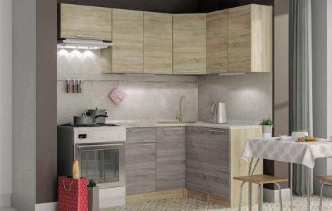 Кухня кутова Марта Світ меблів • ДСП • 190х120 см • Фасад Дуб сонома + Дуб трюфель + Корпус Дуб сонома