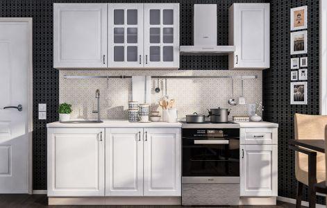 Кухня пряма Аморе Класік МДФ, 180 см, Білий