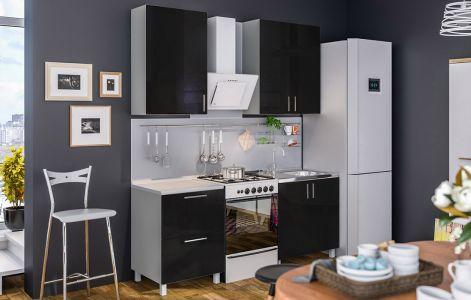Кухня пряма Мода ВІП мастер • МДФ • 140 см • Фасад Чорний лак + Корпус Сірий металік