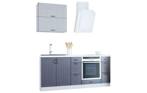 Кухня пряма Верона ВІП мастер • МДФ • 200 см • Фасад Д1 Білий + Д4 Темно-сірий + Корпус Білий